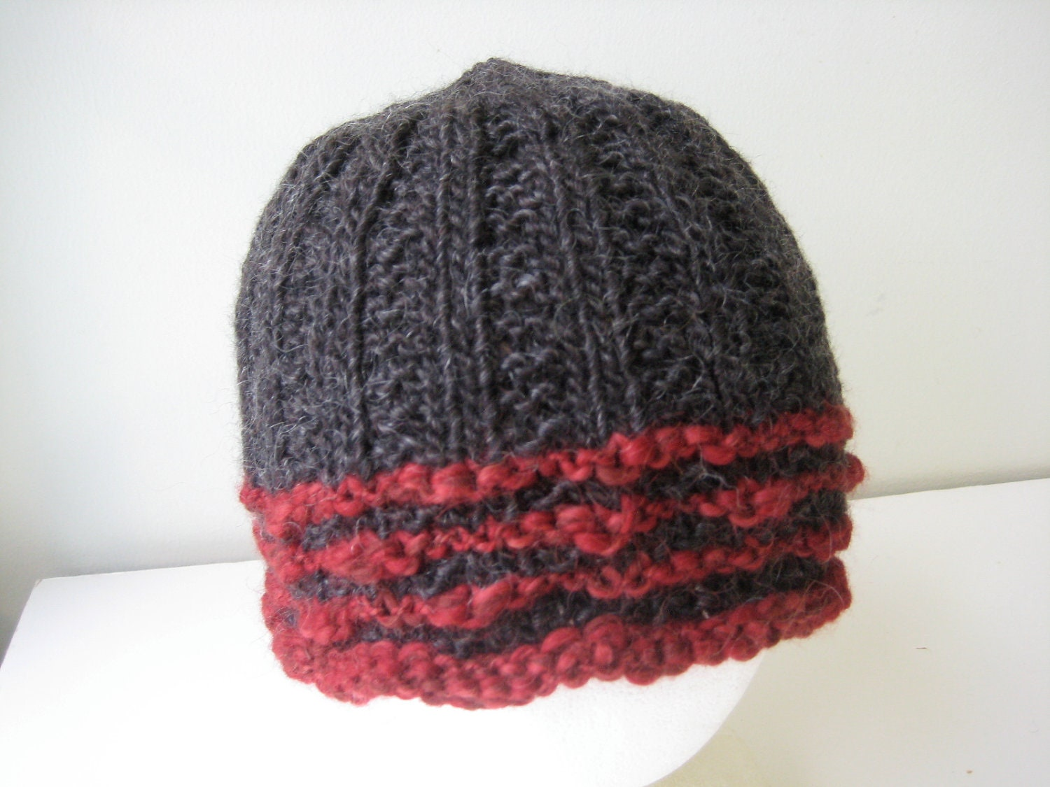 charcoal gray hand knit hat with red stripes - beaconknits