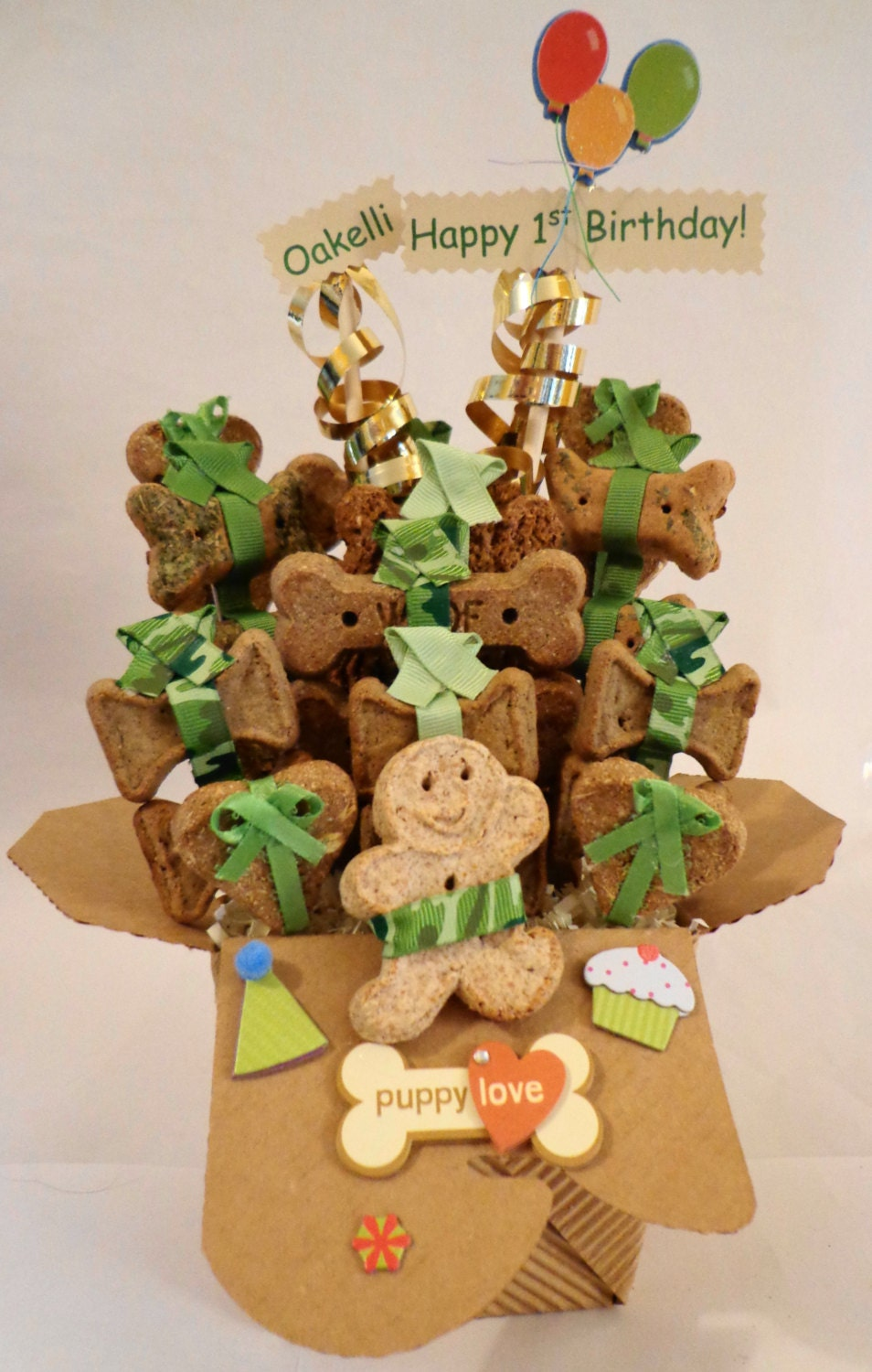 Etsy Dog Gift Baskets : Birthday dog biscuit treat gift basket by petiblecreations