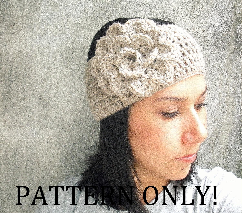 Flower Headband Tutorial: PDF PATTERN Crochet Flower Headband Earwarmer DIY By LanadeAna
