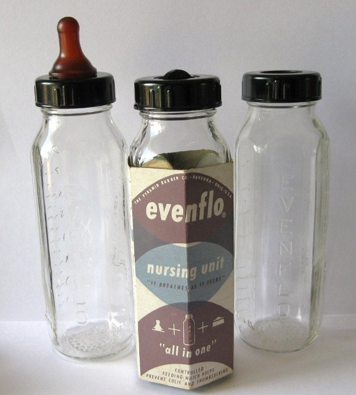 3 Vintage 1950s Glass Baby Bottles Even Flo By Grannysthimble