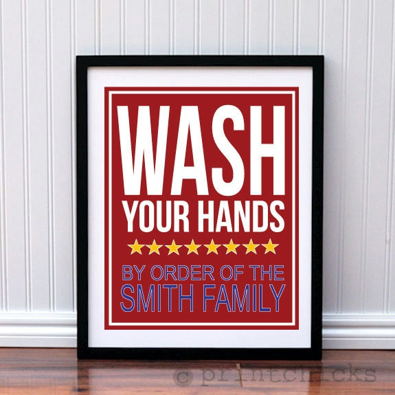 Wash Your Hands Print Unisex Personalized Bathroom by PrintChicks