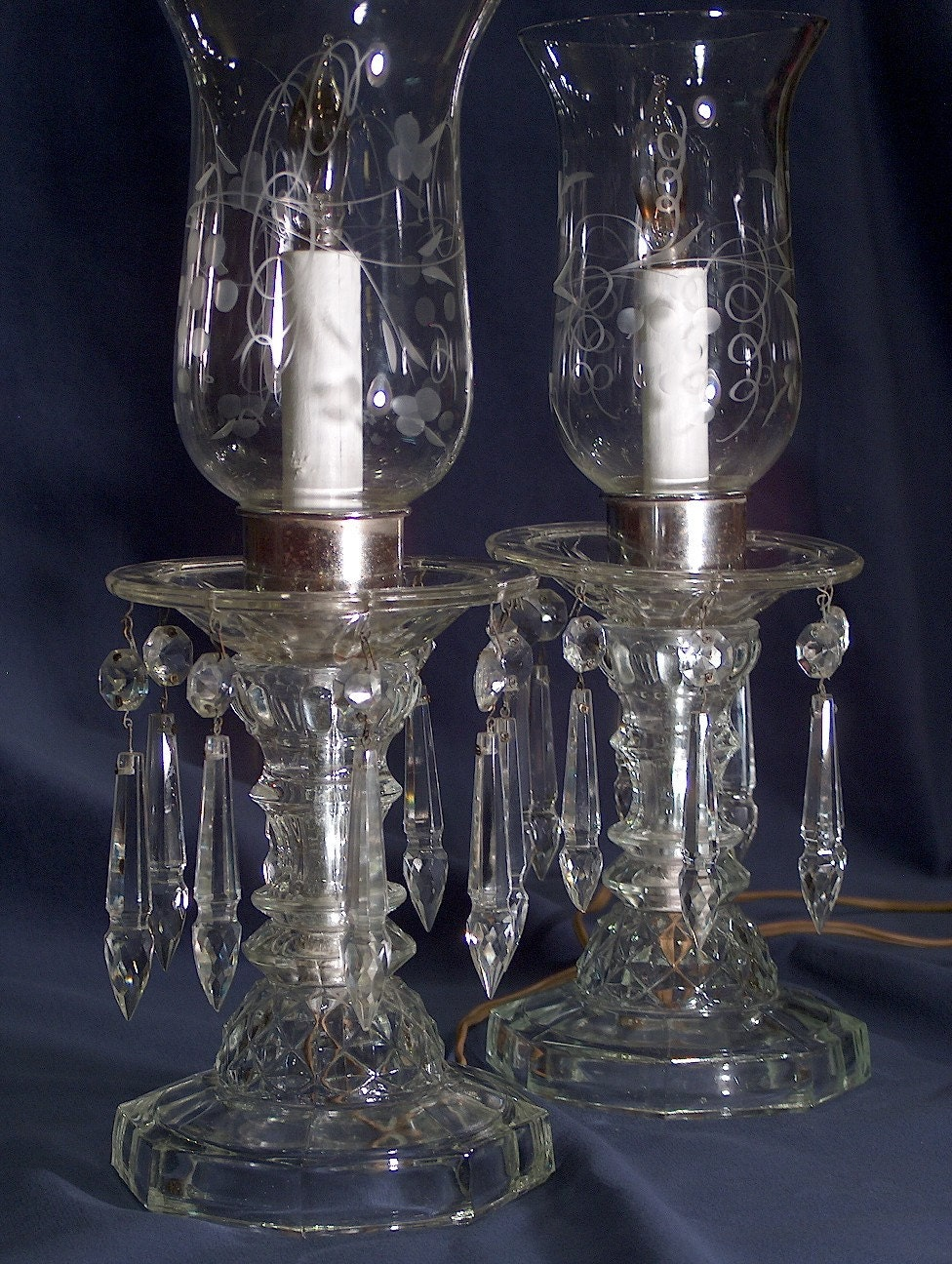 Crystal buffet lamp pair by eclectichome on etsy