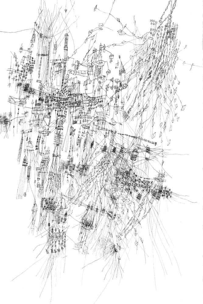 Landscape - ink drawing drawing art Fine art print  Black and white print map print ink drawing limited edition 18 x 12 inches