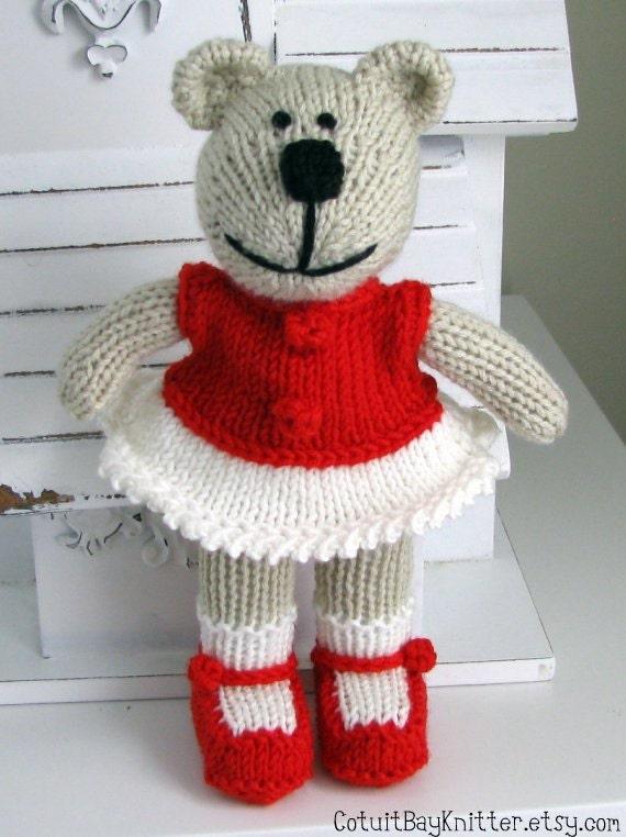 Hand Knit Bear Children Toys Stuffed Animal Christmas Bear Knitted Toy Children Christmas Present  Baby Heirloom Red Makayla