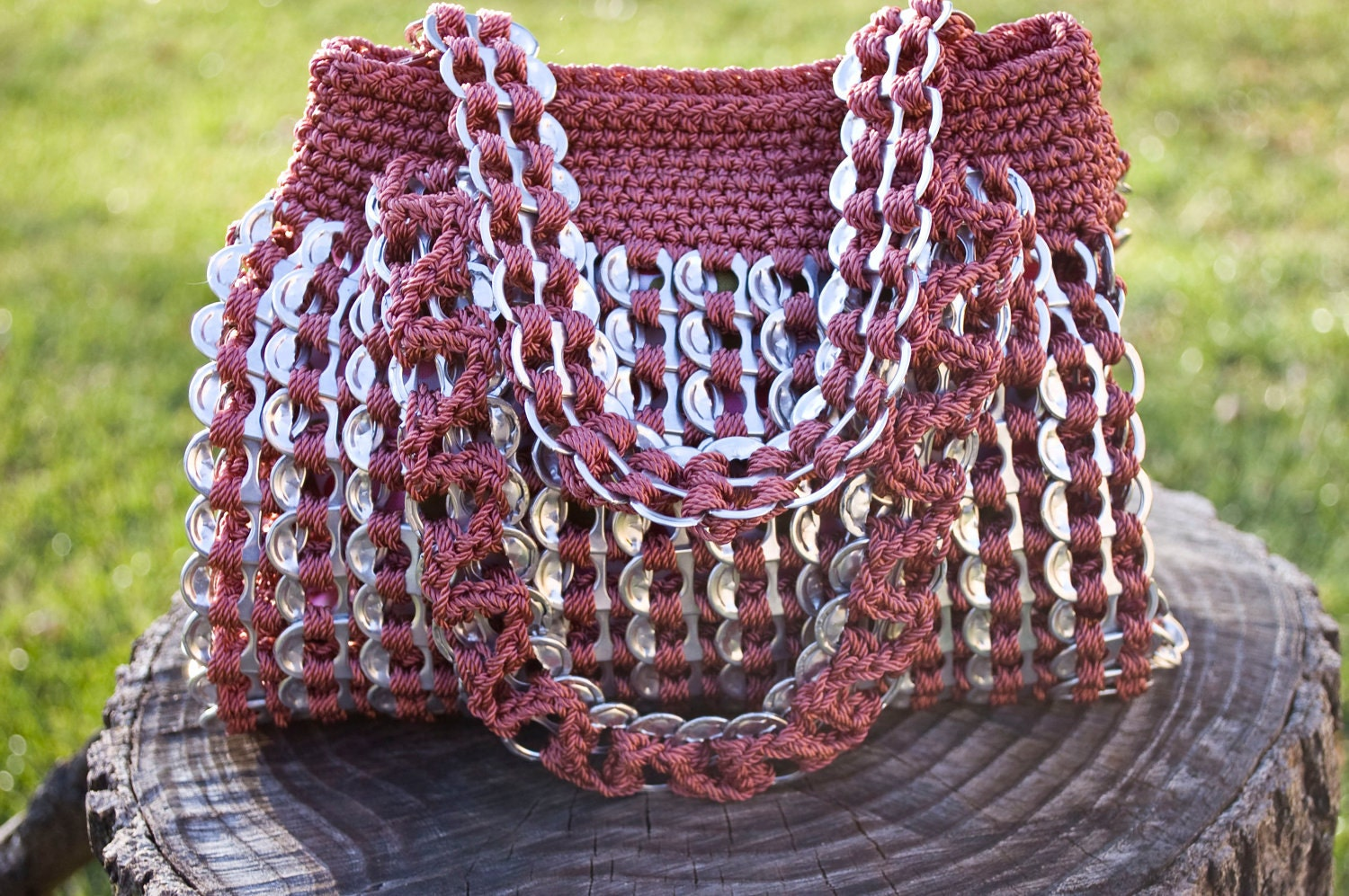 Crocheting With Pop Tabs : Upcycled Mauve Crochet Pop Tab Hand Bag by Flor7 on Etsy
