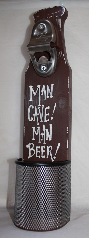 Wall Mounted Beer Bottle Opener With Cap Catcher Man By