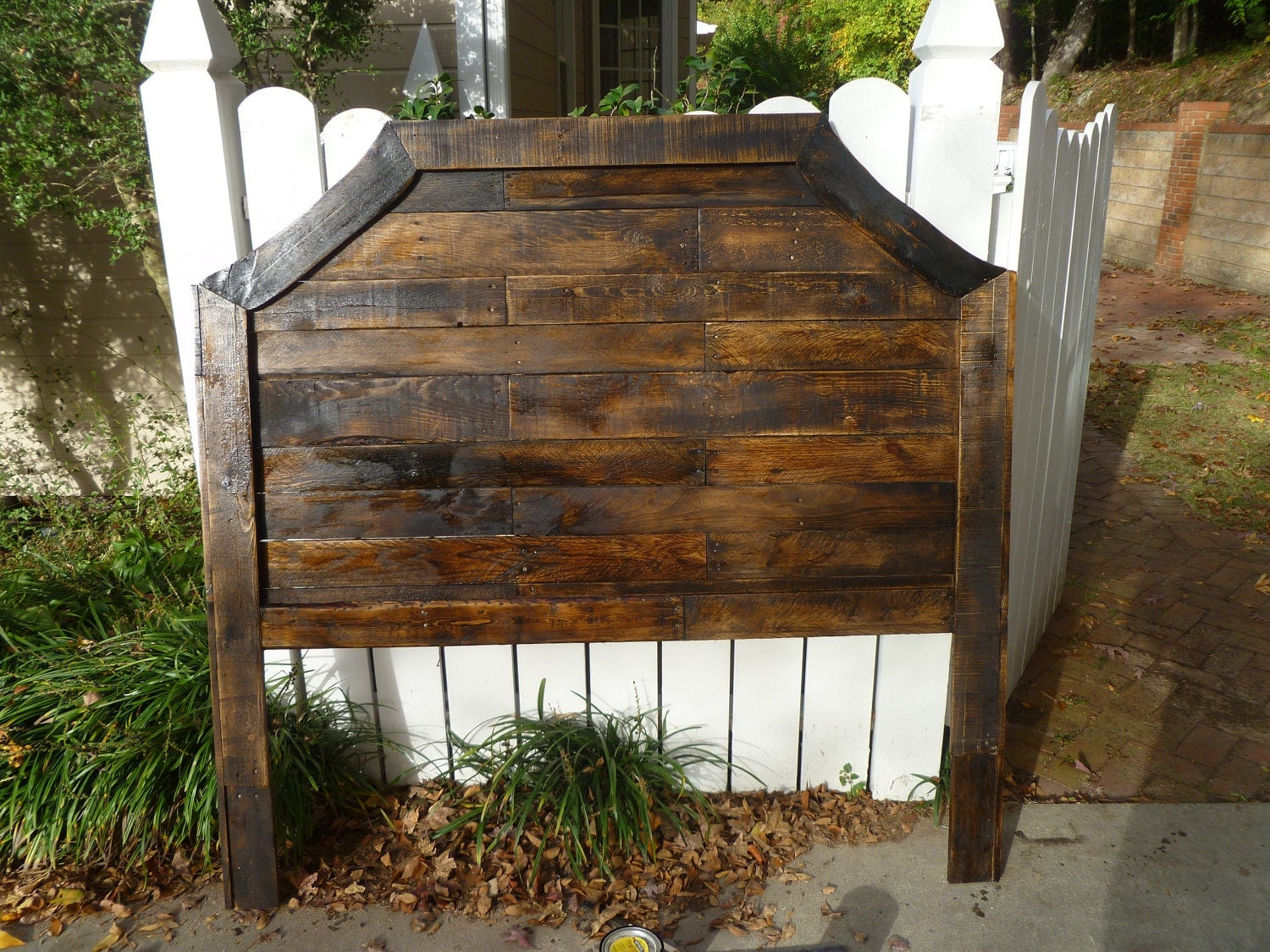 Items similar to curved pallet headboard stained with dark for How to make a king size headboard out of pallets