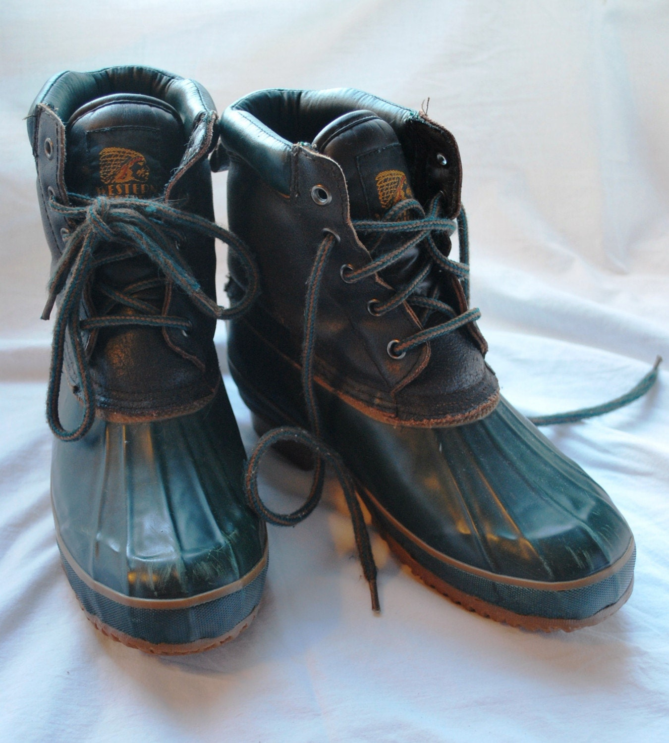 vintage green western chief boots duck by reanimatedrags