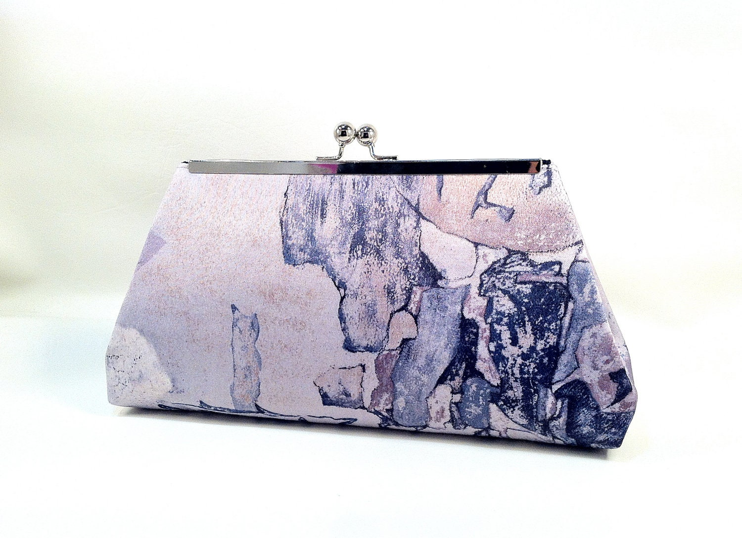 Vintage Recycled fabric clutch, reclaimed, Thrifed, Purple, Grey Pattern, purse, evening bag,