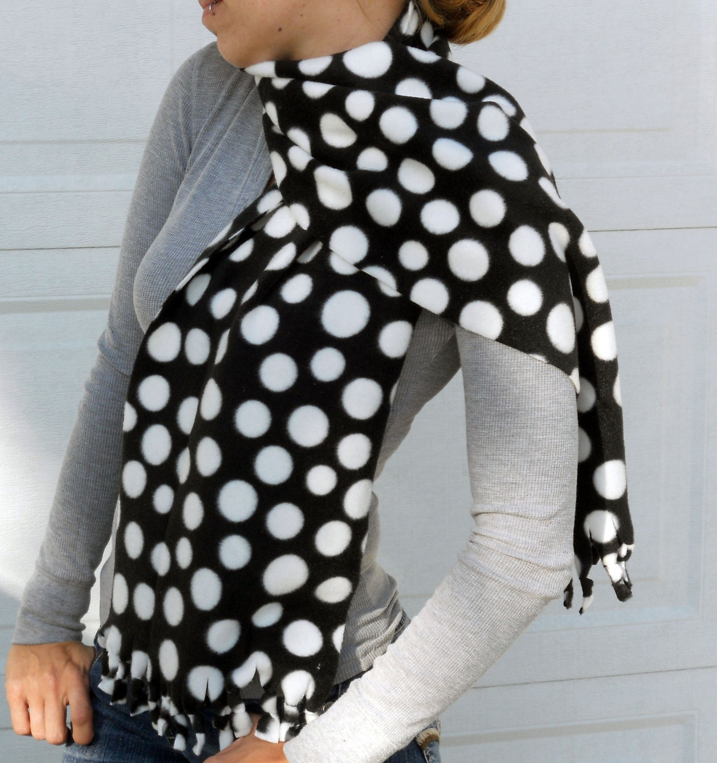 black and white polka dot fleece no sew scarf by valkinthreads