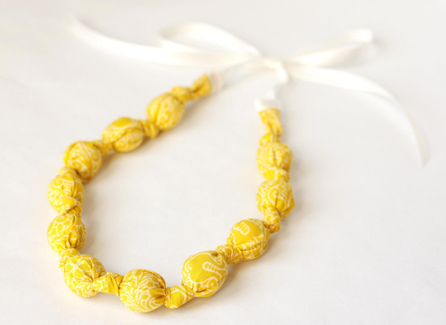Fabric Necklace- Sunshine Yellow