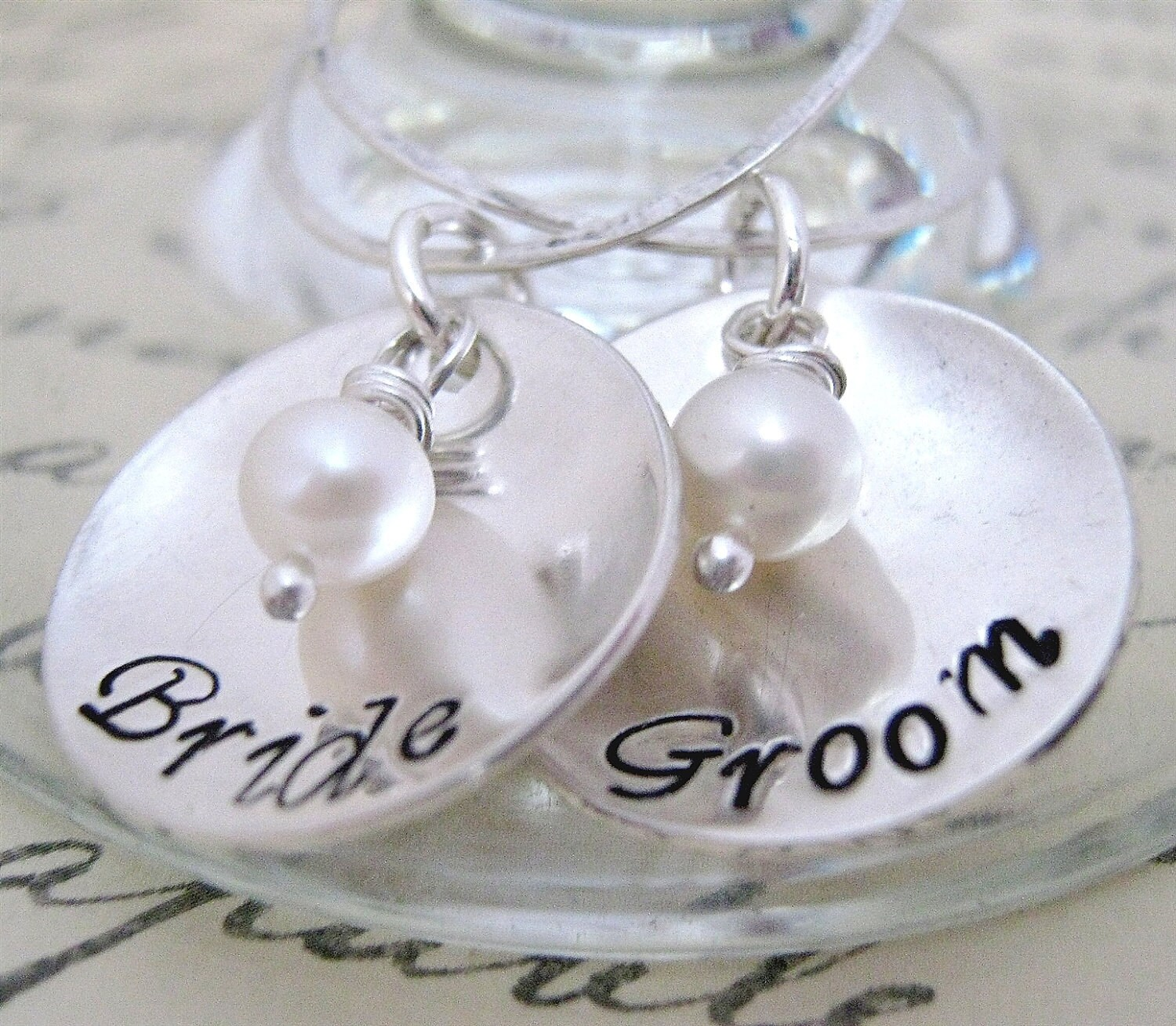Personalized Wedding Wine Glass Charms : Bride and Groom Drink Tags Wine Glass Charms by JLynnCreations