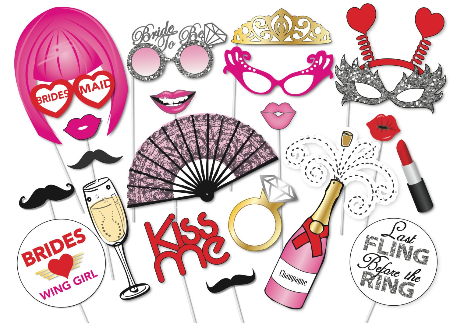 Bachelorette Party Photo Booth Props Set 22 By Thequirkyquail