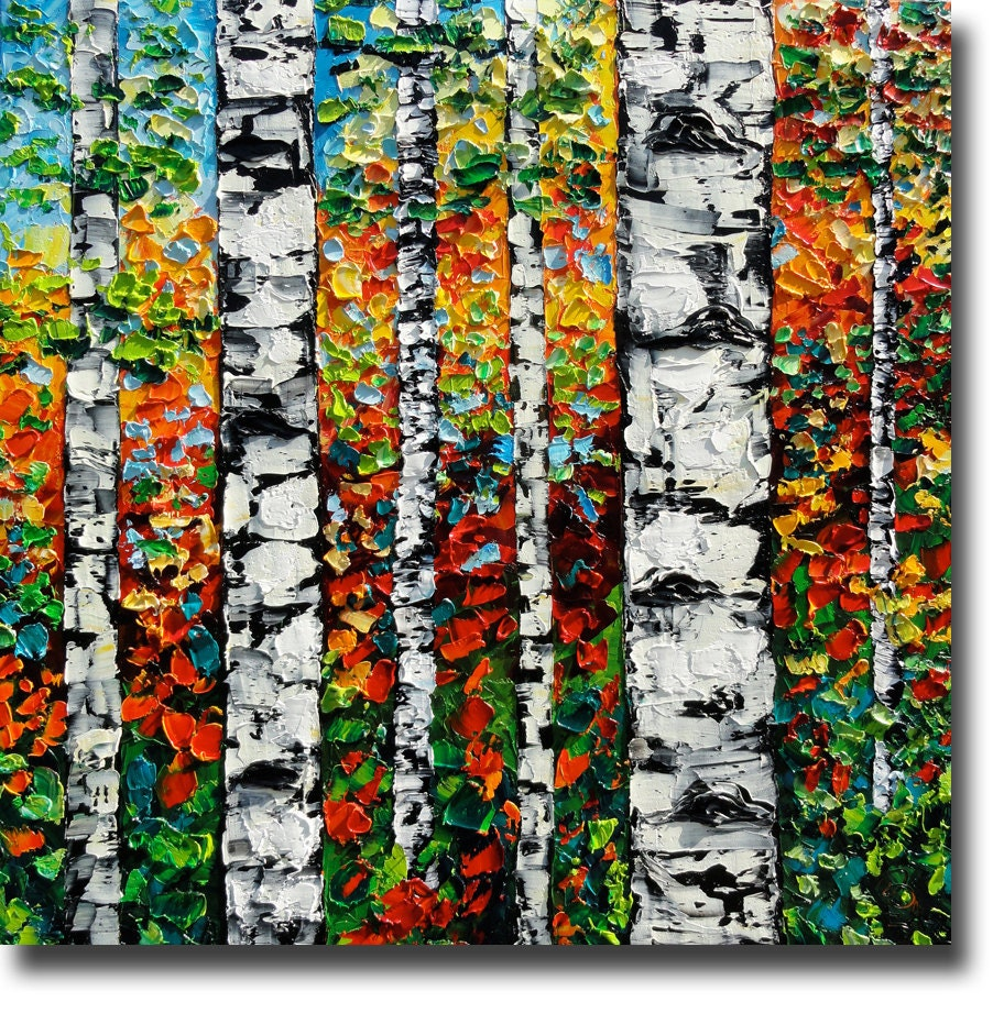 Reserved birch tree art original oil painting on canvas by for Mural on canvas