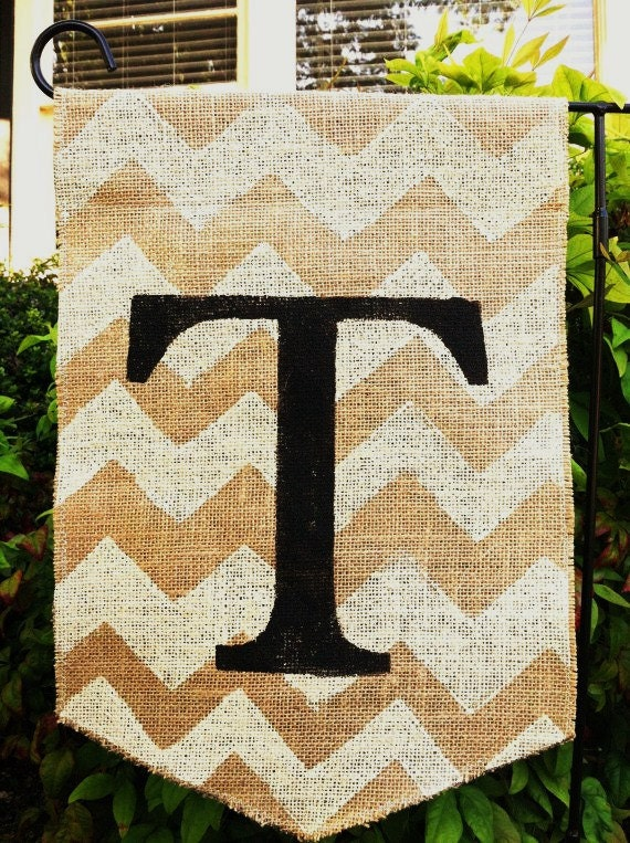 Chevron Burlap Garden Flag With Monogram By Modernrusticgirl