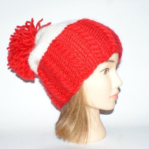 Irish handknit wheres wally waldo novelty hat red by Johannahats Craftjuice...