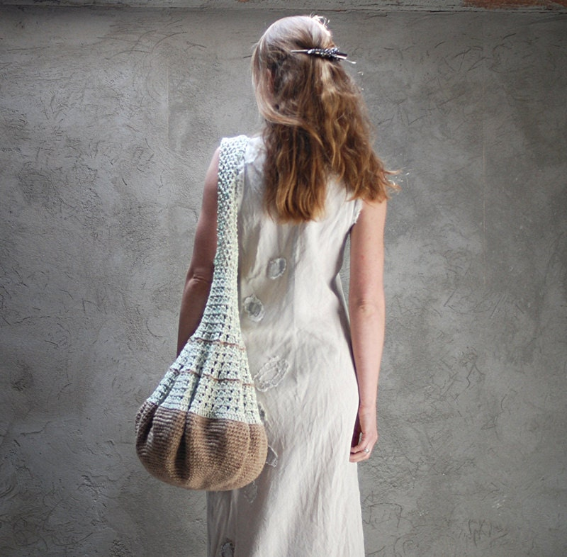 Crochet hobo tote eco-friendly bag beige and green - Muza