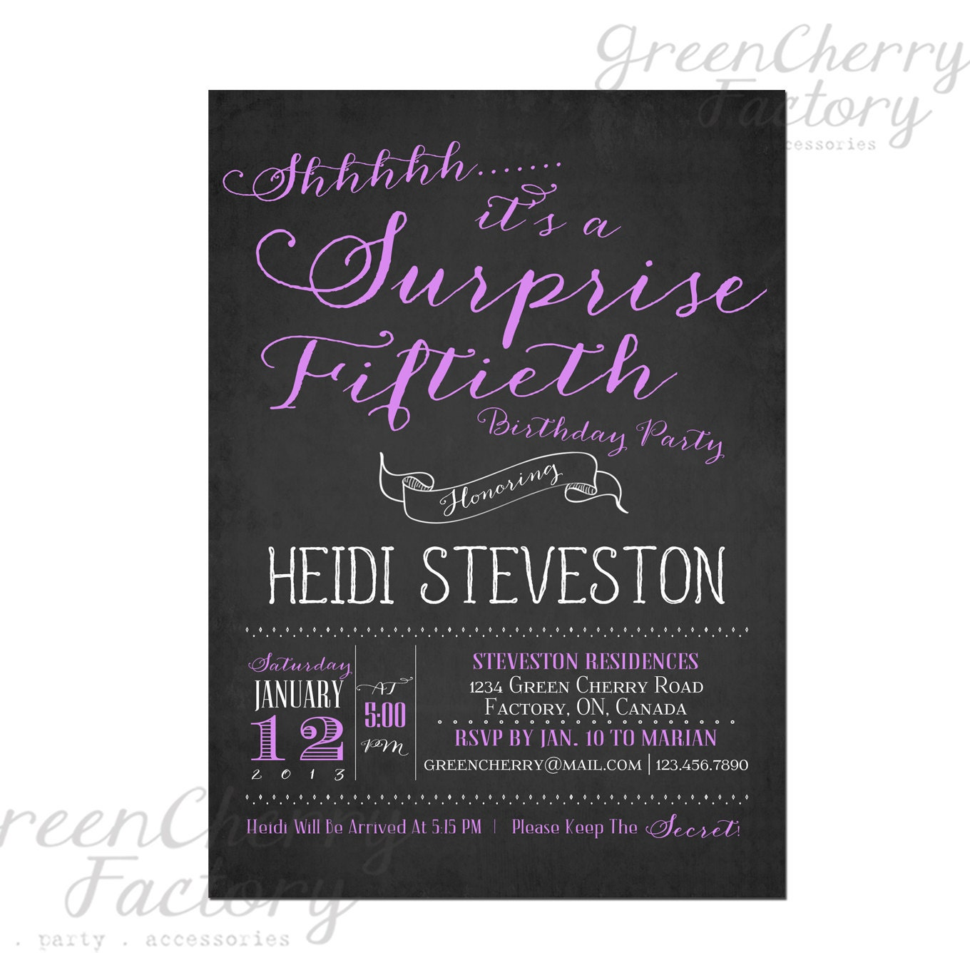 Items Similar To Hand-Writing Adult Surprise Birthday Invites