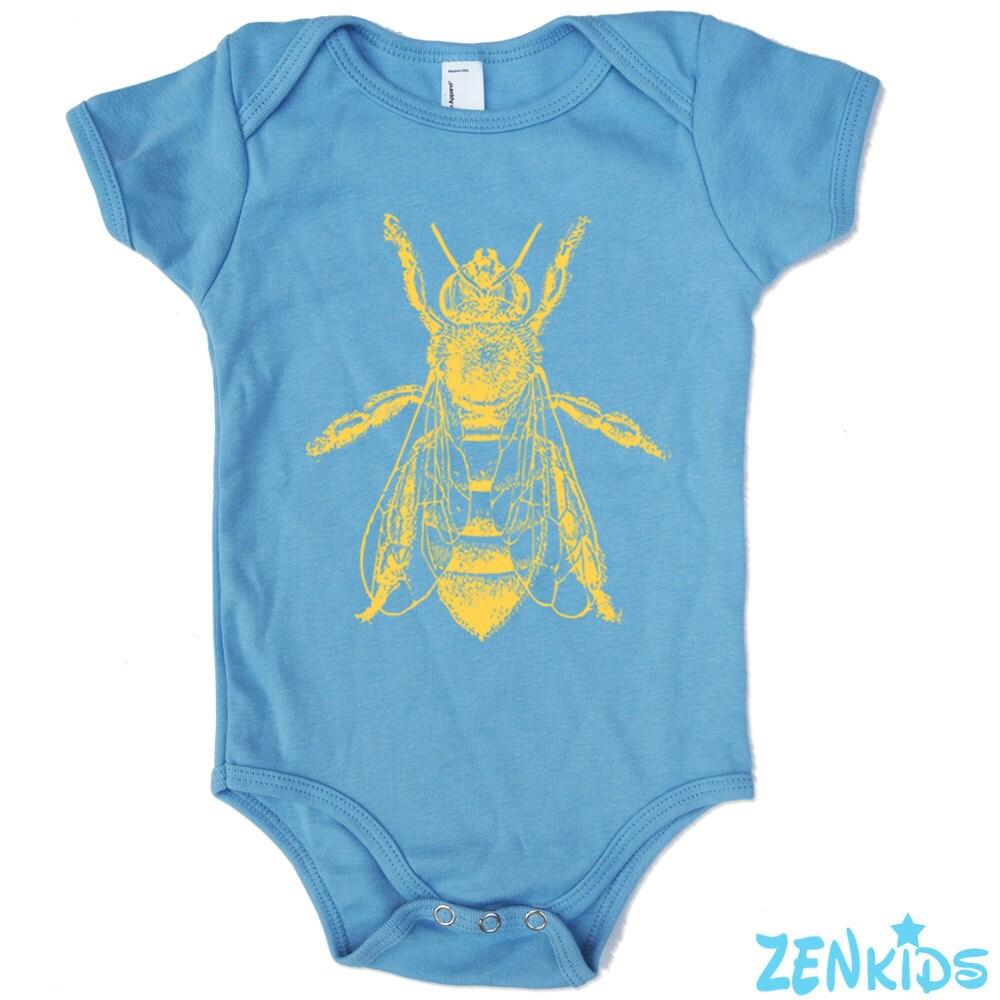 HONEY BEE Baby Onesie in Light Blue american apparel - ZenKids