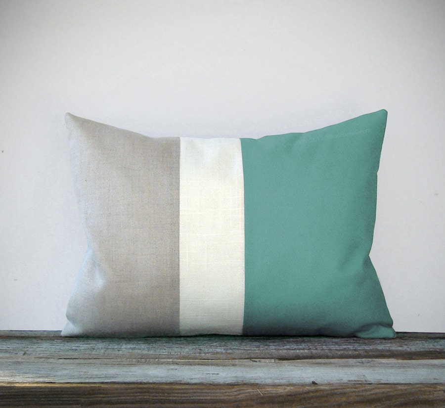 Mint Color Block Decorative Pillow with Cream and Natural Linen Stripes by JillianReneDecor Modern Home Decor Color-block - JillianReneDecor