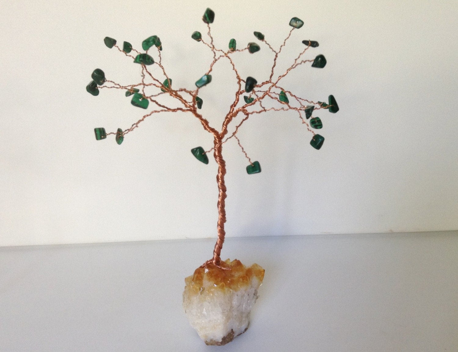 African Jade  Citrine Gemstone Tree. Green Copper and Yellow Wire Tree Sculpture. Tree of Life