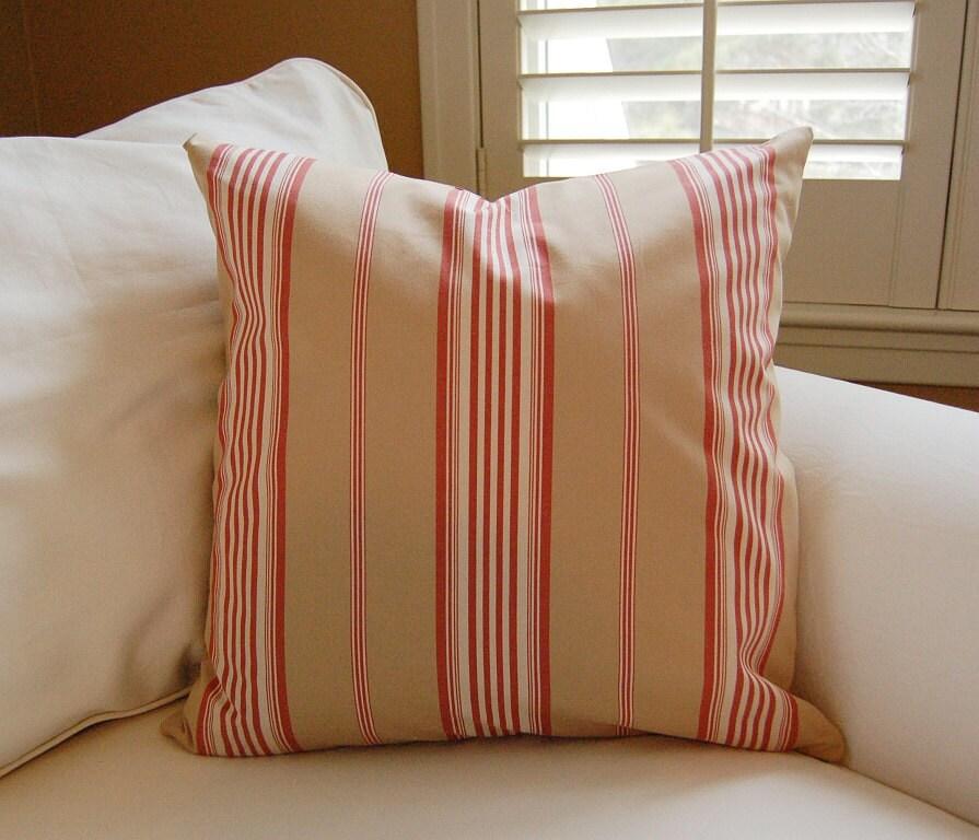 Items similar to Designer Ralph Lauren Lila Red Ticking Stripe Pillow Cover / 20 X 20 / Throw ...