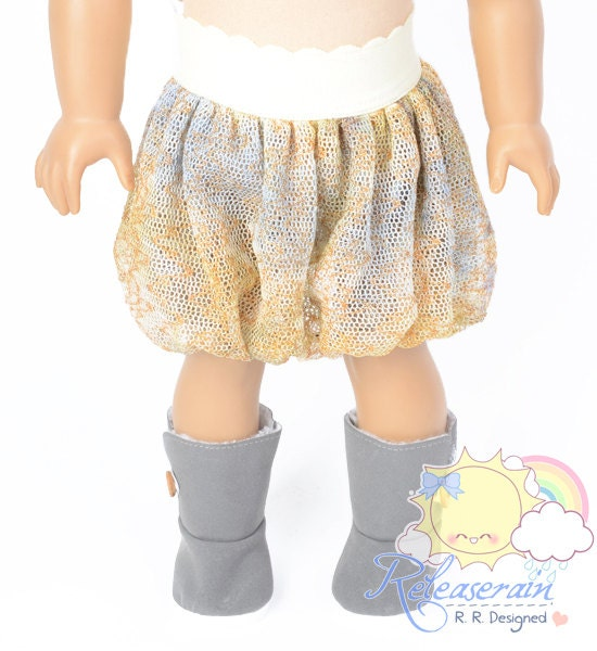 "Light Pale Yellow Elastic Banded Waist Artsy Grey/Camel Boho Paisley Mesh Tulle Bubble Skirt Doll Clothes Outfit for 18"" American Girl dolls"