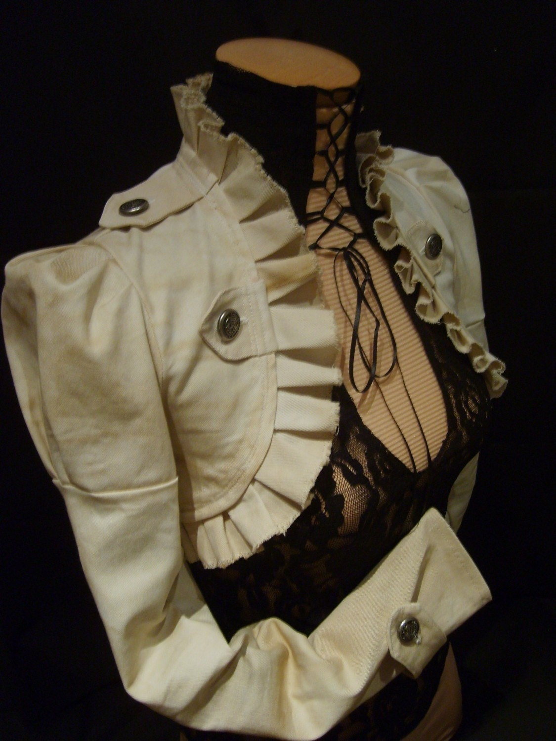 Pirate steampunk jacket bolero Ivory colour - blackmirrordesign