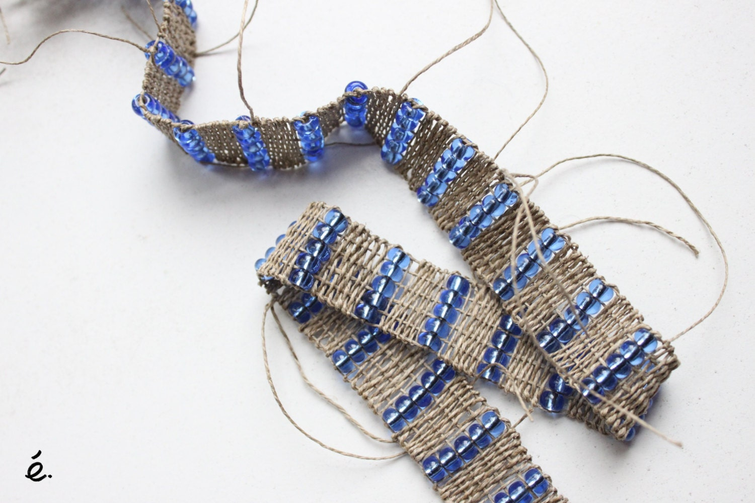 Woven trim binding border - handwoven tape - glassbeads and hemp weaving - woven trim - woven ribbon - MADE TO ORDER - AtelierCreation