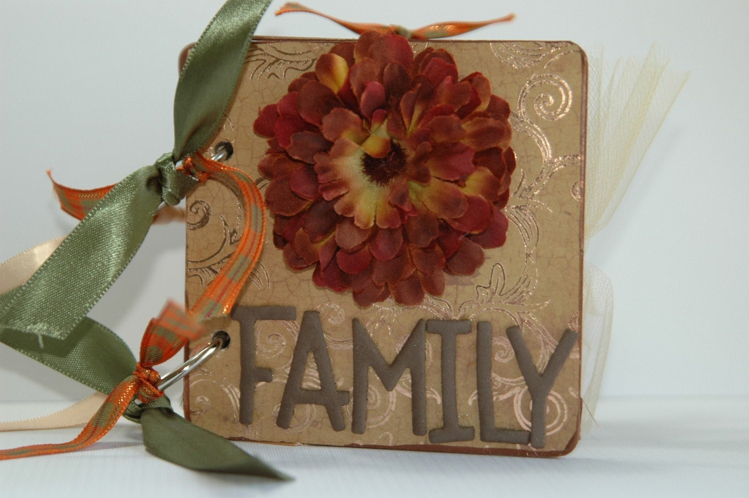 Family premade chipboard  album Thanksgiving fall leaves