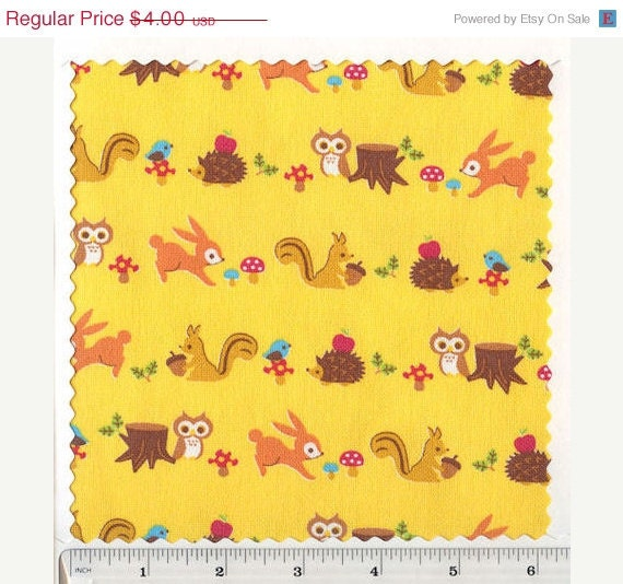 SALE RARE FQ Woodland Animals Yellow Lightweight Canvas Fabric Cosmo