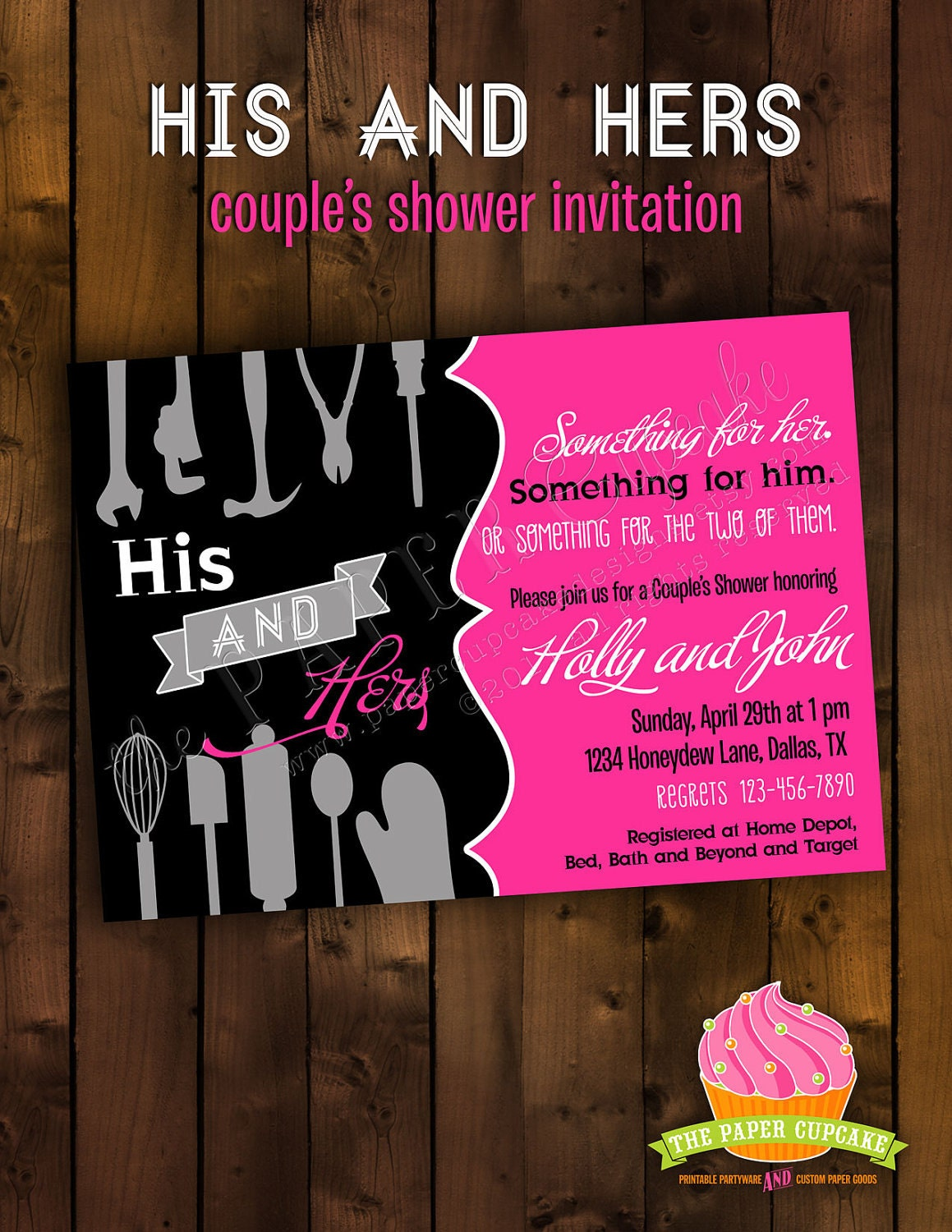 Bridal Shower Invitation Design His And By Papercupcakedesigns