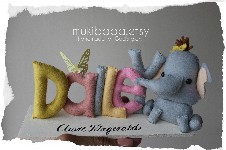 CUSTOM NAME ELEPHANT custom kid's decor personalized by mukibaba