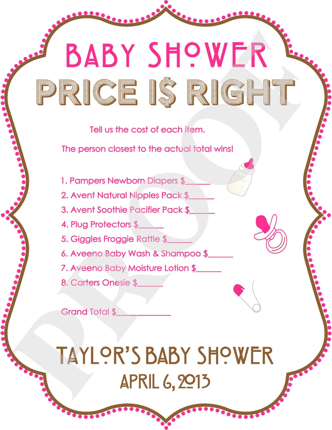 prices right baby shower games printable