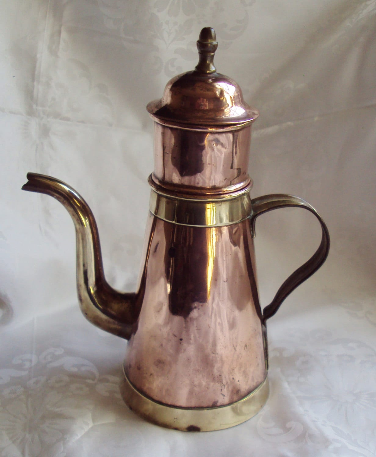 Antique Percolator Coffee Maker : Vintage Copper and Brass Coffee Pot and by mamaisonfrancaise
