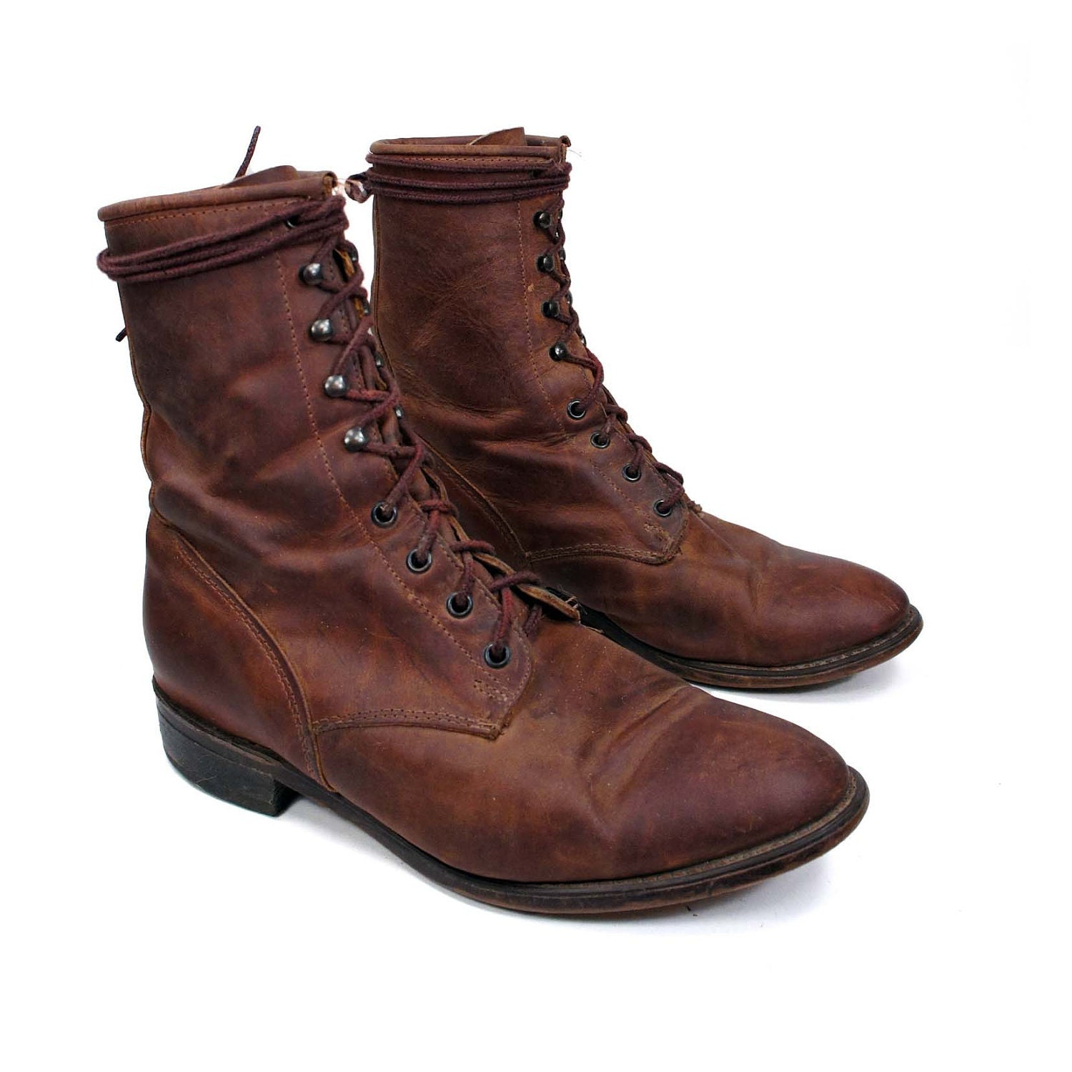 Vintage roper boots country western style in brown leather for a men