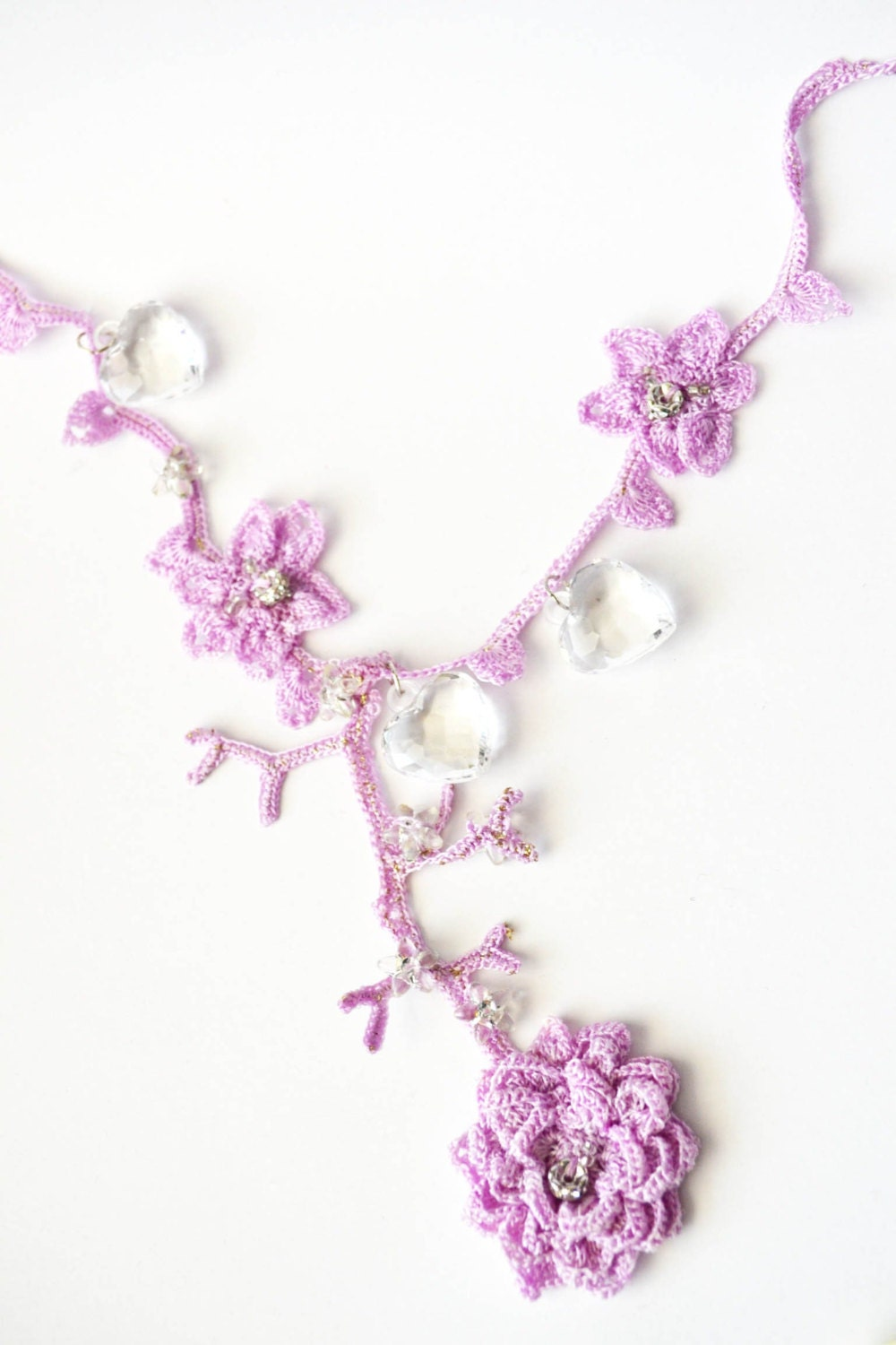 Dainty crochet necklace bridal necklace chain light purple with flowers and hearts, amazing beauty Spring Blossom - Laila4you