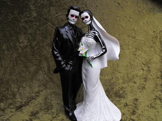 day of the dead wedding cake topper with veil 12 inches