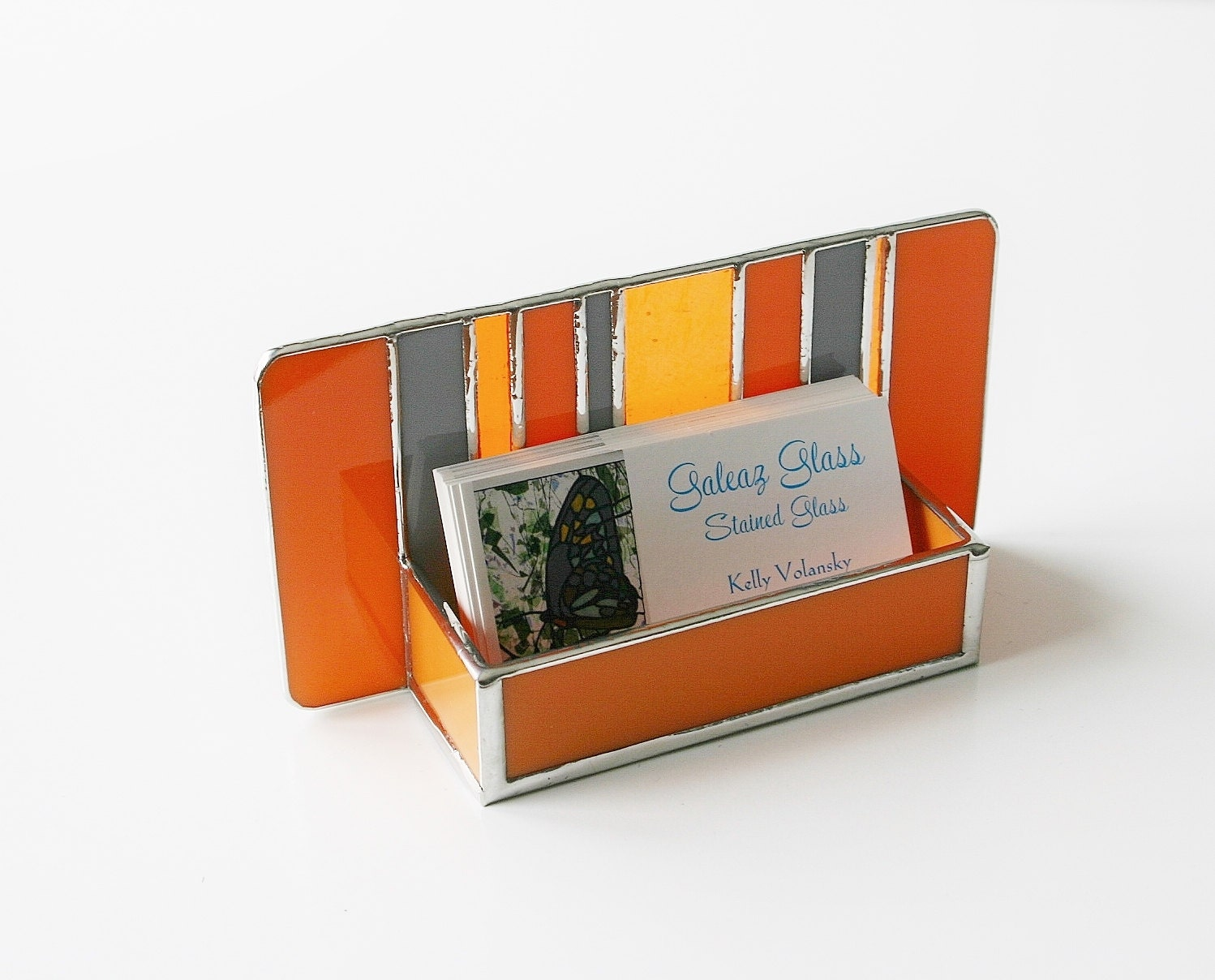 Stained glass modern business card holder retro by galeazglass for Vintage business card case