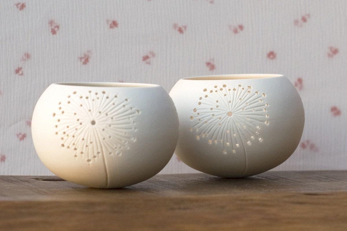 Ceramic candle holder dandelion design. porcelain tea by wapa