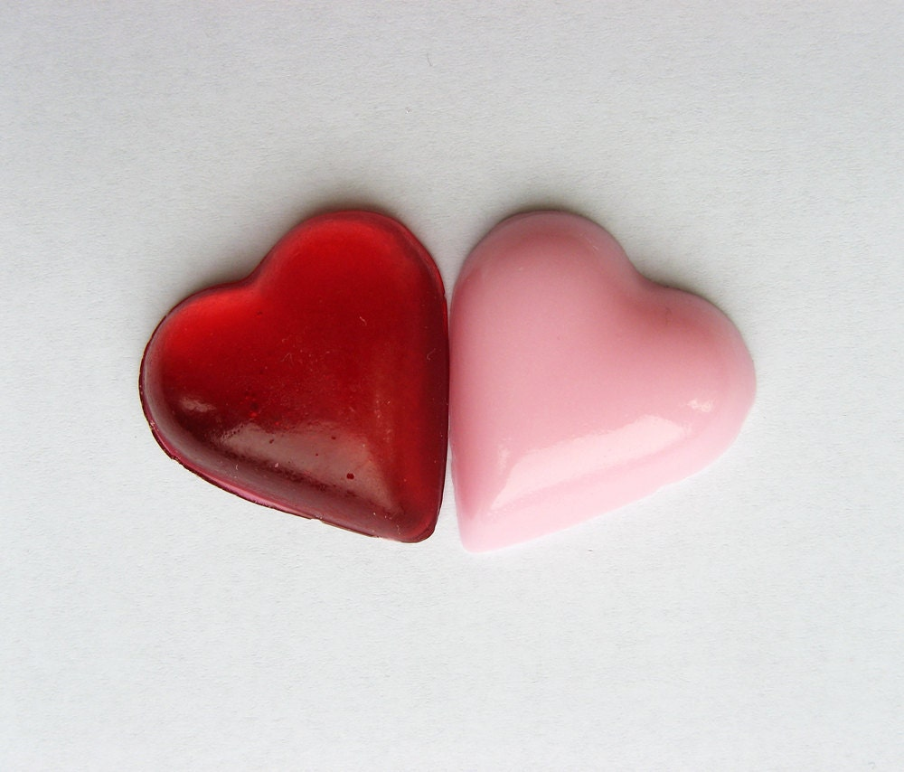 raspberry and watermelon bite size heart hard candies - 5 oz. - MADE TO ORDER