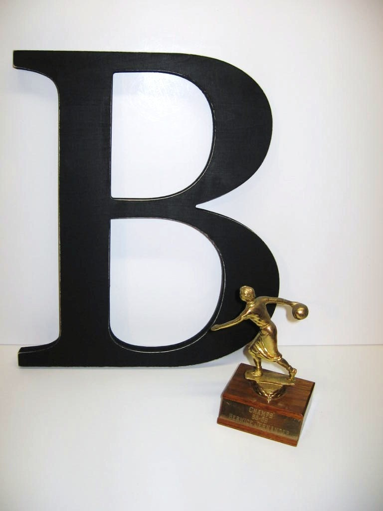 Large wood letter b graphic wall art by dimestorevintage for Big wooden letter b