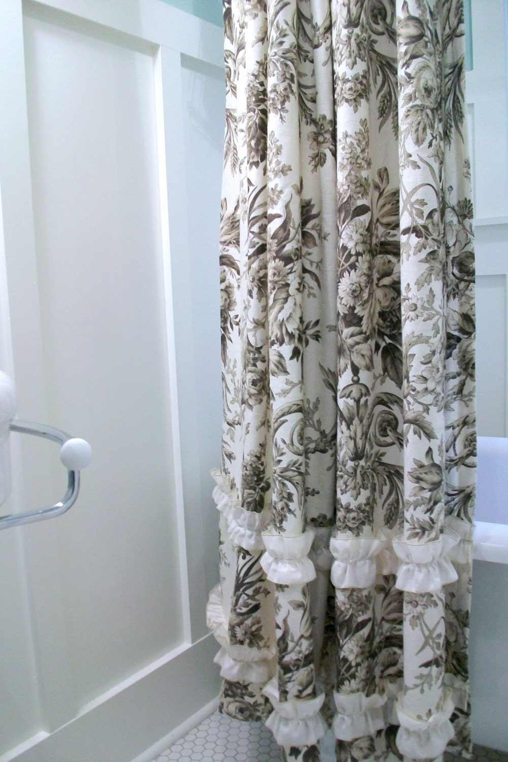 Linen Toile Shower Curtain by MySwallowsNest on Etsy