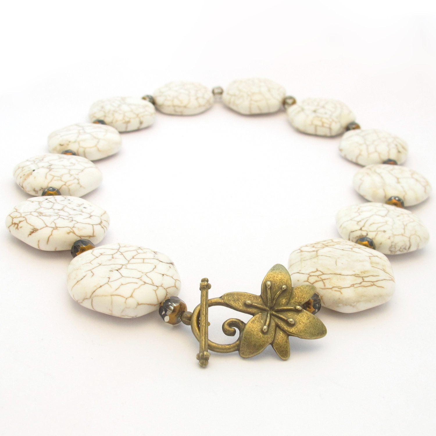 White Stone Necklace, Magnesite Beads, Flower Toggle - MoonlightShimmer