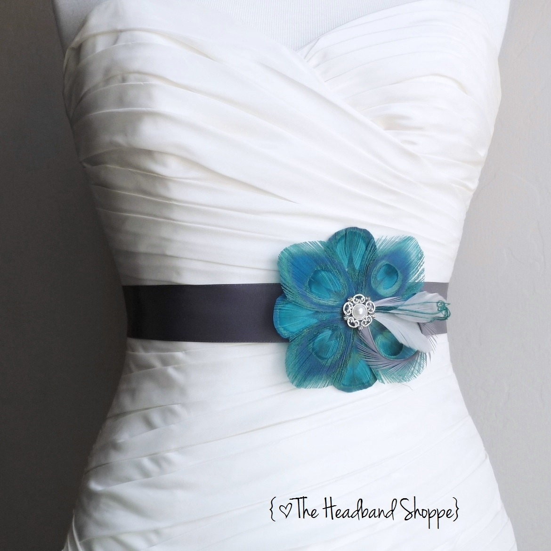 Items similar to teal and grey bridal sash skye for Peacock wedding dress sash