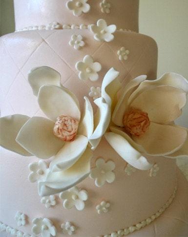 Items Similar To 2 Edible Sugar Magnolia Flower LG Wedding Cake Topper White Amp Bronze On Etsy
