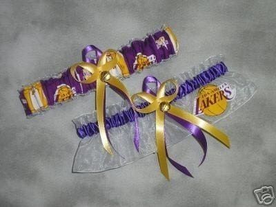 LA LAKERS basketball wedding garter set