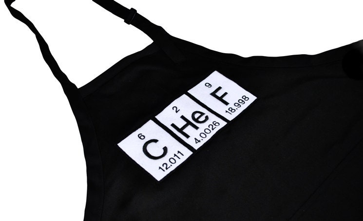 Cooking/Grilling Apron with Periodic Table Chef and Pockets - YellowBugBoutique