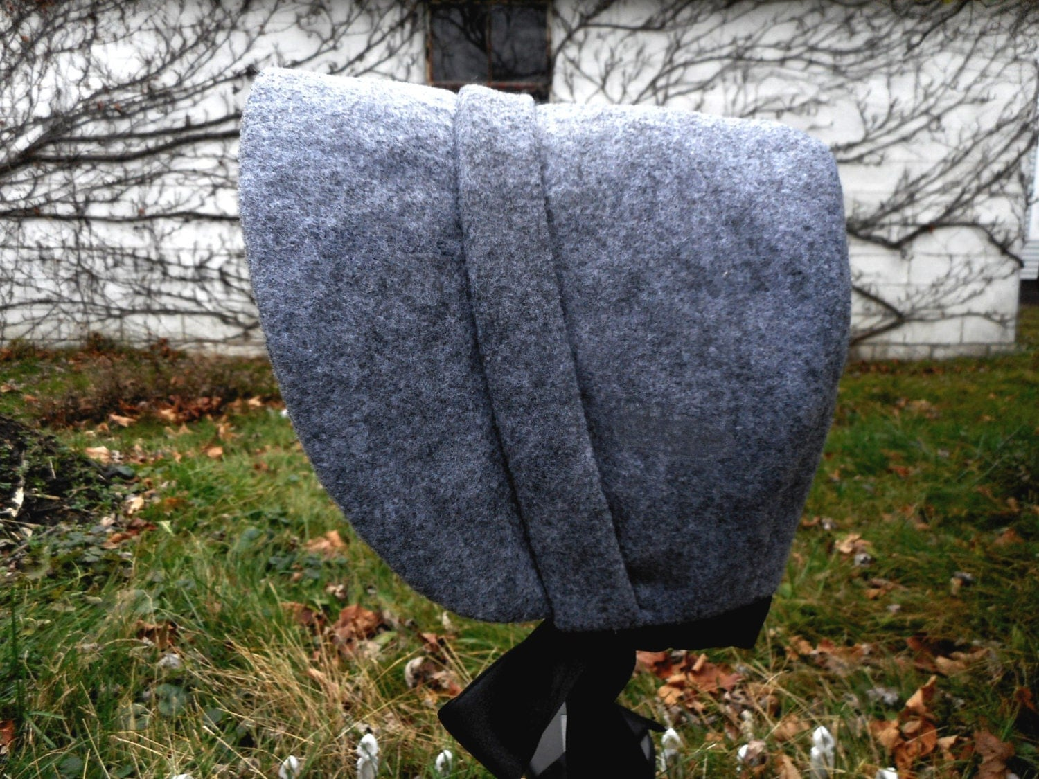 Winter Bonnet Women Victorian Gray Small Charcoal gray with  black satin RESERVED for JL $25.00 AT vintagedancer.com