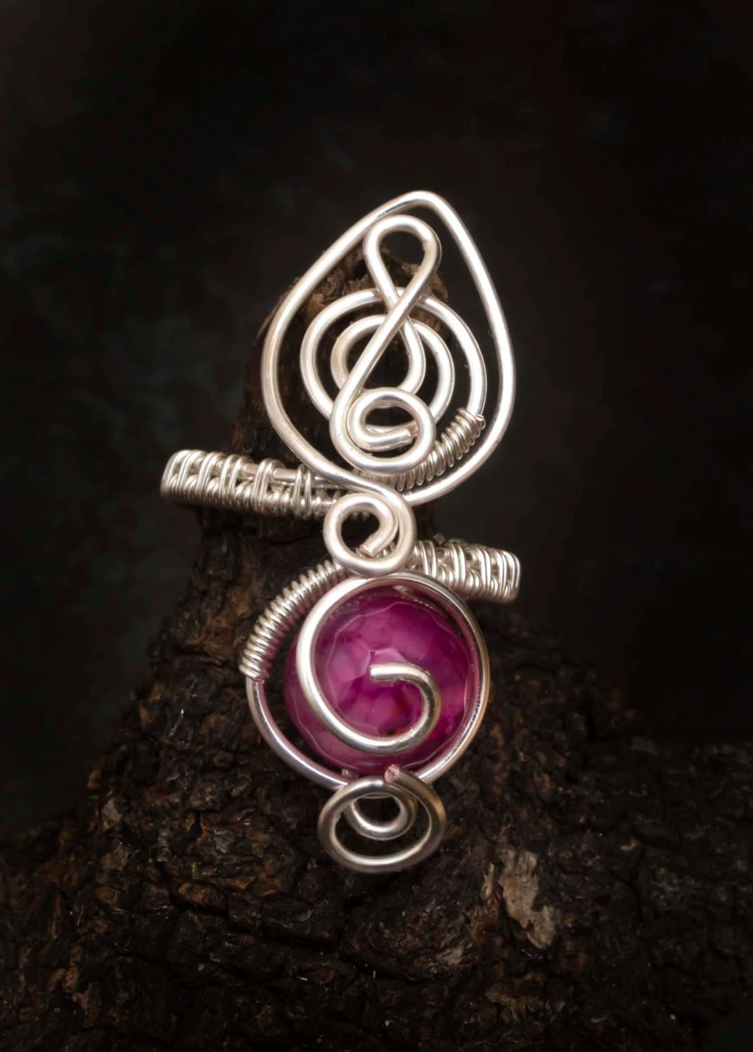 Silver ringadjustable wire wrapped ring.Roseo dragon vein agate ring